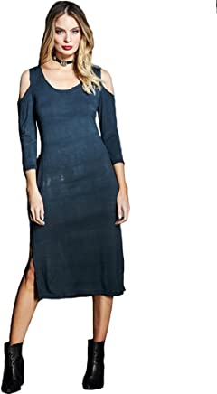 1d3b9ddd26a Gypsy05 Women s Cold Shoulder Midi Dress Azusa Black