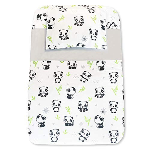 CangooCare Juego de sábanas de 4 piezas Next2Me, Cuna Cosleeping, 100% algodón, 1 Edredón de Plumón 350gr, 1 sábana bajera, 1 sábana encimera, 1 funda de almohada, Panda