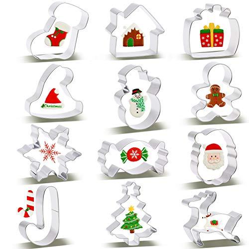 SYOSIN Ausstechformen Weihnachten, Ausstechformen Set Plätzchenformen aus Edelstahl perfekt für Keks, Brot, Sandwiches, Käse, Plätzchen, Tortendekorationen