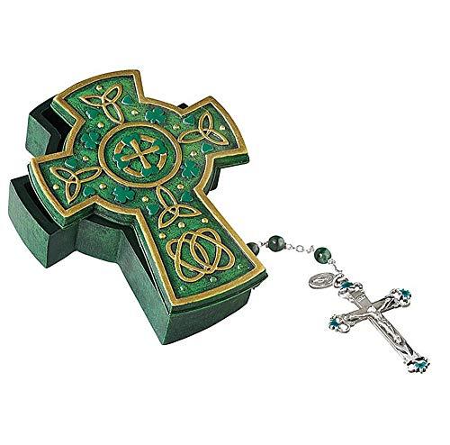 Needzo Green and Yellow Celtic Cross Shaped Rosary Holder Prayer Box, Jewelry and Trinket Tray, 4.5 Inch