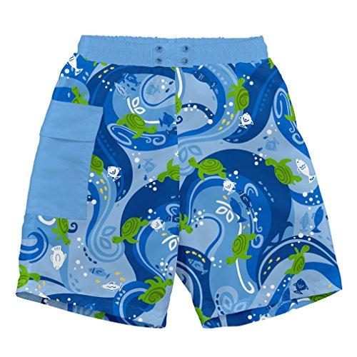 i play. 722169-639-48 Schwimmwindel- BadeShorts, Pocket, 3-4 Jahre, Turtle Batik, blue