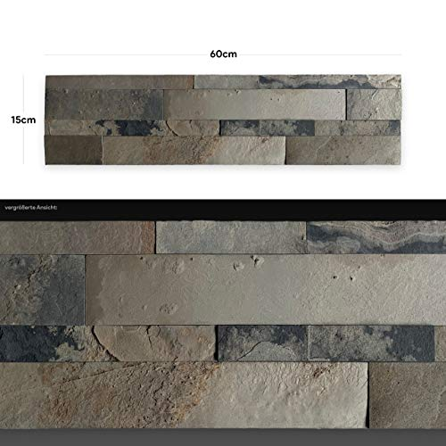WANDVERKLEIDUNG AUS ECHTEM STEIN: Paneele aus Dünnschiefer | Wandverblender | Wandpaneele in Steinoptik (AS 2006)