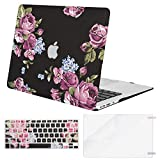 MOSISO MacBook Air 11 inch Case (Models: A1370 & A1465), Plastic Pattern Hard Shell Case & Keyboard Cover & Screen Protector Compatible with MacBook Air 11 inch, Purple Peony