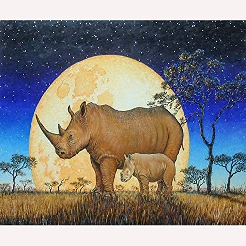 Schilderen Op Nummer Kits Voor Volwassenen Kinderen, Diy Nummer Schilderij Gestempeld Canvas Kunstenaar Huisdecoratie, Rhino Moeder En Zoon Onder De Maan,16x20inch