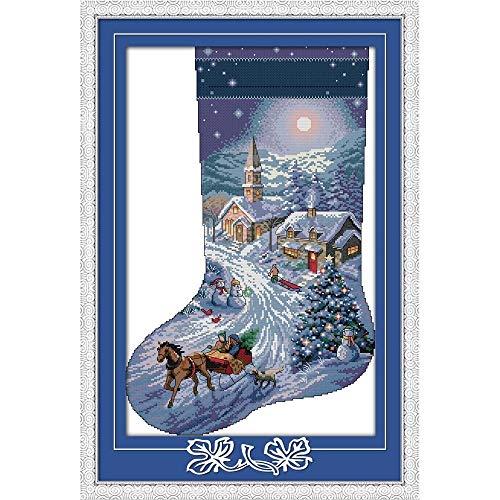 Everlasting Love Weihnachtsstrumpf Ökologische Baumwolle Stickpackungen Gezählt Stamped 14 11CT neues Jahr Handgemachte Kreuzstich (Color : C592 11CT stamped product)