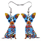 Bonsny Acrylic Drop Chihuahuas Dog Pets Earrings Funny Design Lovely Gift For Girl Women Fashion Jewelry (Blue)
