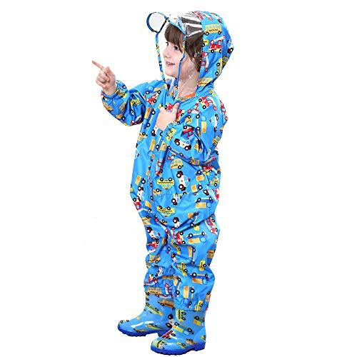 FILOWA Kids Raincoat Hooded Puddle Suits Boys Rainsuit Blue Rainwear Lightweight Onesies Waterproof Portable Breathable PVC Transparent Hat Brim Zipper Hiking Travel Cartoon Cars Pattern 1-3 Years