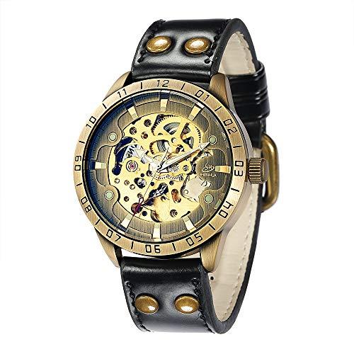 SJXIN Hochwertige mechanische Uhr, SHENHUA / 9383 Herren automatische mechanische Uhr Gürtel hohlen Uhr (Color : 1)