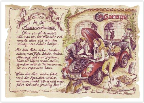 Die Staffelei Geschenk Autowerkstatt Kfz Mechaniker Mechatroniker Gedicht Zeichnung Color 30 x 21 cm