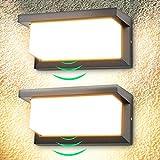 2 Pcs 18W Aplique de pared exterior LED con detector de movimiento aplique led exterior 3000K blanco cálido 1260lm Impermeable IP65