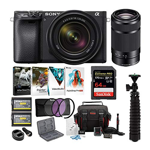 Sony a6400 Mirrorless Digital Camera Bundle 18-135mm Lens, 55-210mm Lens, 64GB SDXC Card, Filter Kit, USB Charger, Corel Photo Suite,...