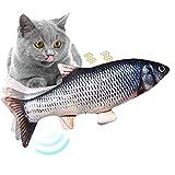 MENGQI Juguete eléctrico para gato de pescado, peces realistas, juguetes para gatos de pez, juguete de gatito de movimiento, juguetes interactivos de...