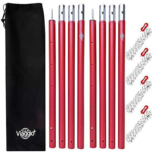 Viaggio+ タープポール テントポール 2本セット 収納ケース ロープ付 120-280cm Φ32mm アウトドア キャンプ (レッド(ツヤ無し))