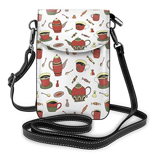 Ketels, snoepjes en koffie In bekers Kleine Crossbody Tassen Crossbody mobiele telefoon portemonnee - Vrouwen PU lederen handtas met verstelbare riem voor dagelijks leven
