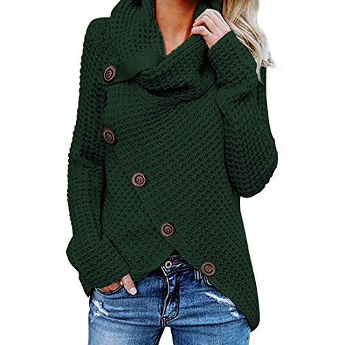 Women Turtleneck Sweater Loose Chunky Knitted Jumpers Asymmetric Hem Wrap Knitwear Solid Color Loose Elegant Knit Sweater Pullover with Buttons Autumn Winter Comfortable Warm Soft Tops L