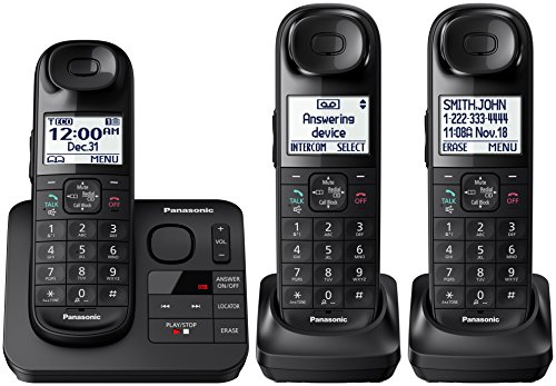 Panasonic KX-TGL433B Dect_6.0 3-Handset Landline Telephone, Black