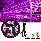 Lsooyys Tira de luces de cultivo de plantas, 3 m Led Plant Grow Strip Light Ip65 impermeable cuerda luces para acuario invernadero planta hidropónica, jardín Veg crece luz DC 5V USB