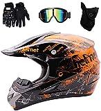WEITY Casco Di Motocross, Casco integrale Quad Crash ECE Downhill Dirt Bike MX ATV adulti casco della motocicletta guanti, occhiali, mascherina di 4 pezzi, Arancione (L)