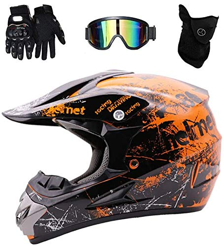 WEITY Motocross Helm, Vollvisierhelm Quad Absturz ECE Downhill Dirt Bike MX ATV Erwachsener Motorradhelm Handschuhe, Schutzbrille, Maske 4-teiliges Set, orange (L)