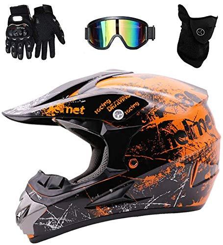 WEITY Motocross Helm, Vollvisierhelm Quad Absturz ECE Downhill Dirt Bike MX ATV Erwachsener Motorradhelm Handschuhe, Schutzbrille, Maske 4-teiliges Set, orange (M)