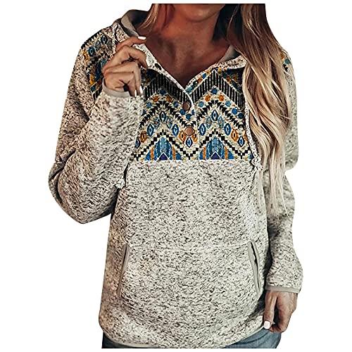 ASDVB Chaqueta de otoño para mujer, sudadera con capucha, informal, botones de presión, jersey de manga larga, azul, M