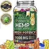 Hemp Gummies Premium 9000MG: 150MG Per Fruity Gummy Bear w/Hemp Oil | Natural Hemp Gummie Supplements for Anxiety, Stress, Pain & Inflammation | Promotes Stress & Pain Relief