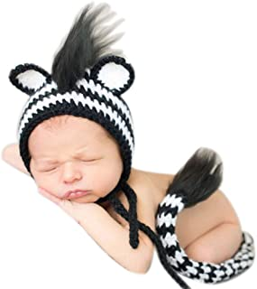 Newborn Photography Props Boy Baby Photo Outfits Infant Knitted Crochet Costume Shoot Zebra Hat and Tail Black