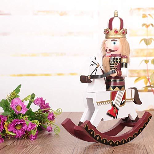 GerFogoo - Pupazzo di noce, in legno stampato, per albero di Natale, schiaccianoci e Babbo Natale, decorazione per la casa, per le vacanze, colore: rosso