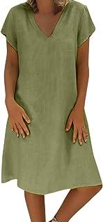Dress for Women, ✔ Hypothesis ☎ Short Sleeve Casual Dress Summer Linen Dress Plus Size Dresses
