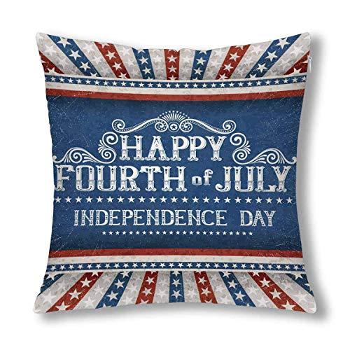 GOSMAO Feliz 4 de Julio Día de la Independencia con Estrellas Cojín Decorativo Funda de Almohada 18 x 18 Pulgadas, Protector de Funda de Almohada Decorativo