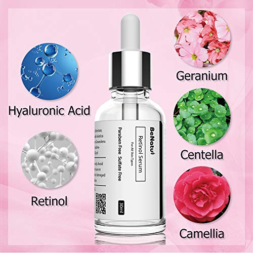 Benatu Retinol Serum 2.5% with Hyaluronic Acid, Organic Anti Aging Vegetal Essence for Pores Refining, Anti Wrinkles and Fine Lines, Skin Repairing, 1 oz