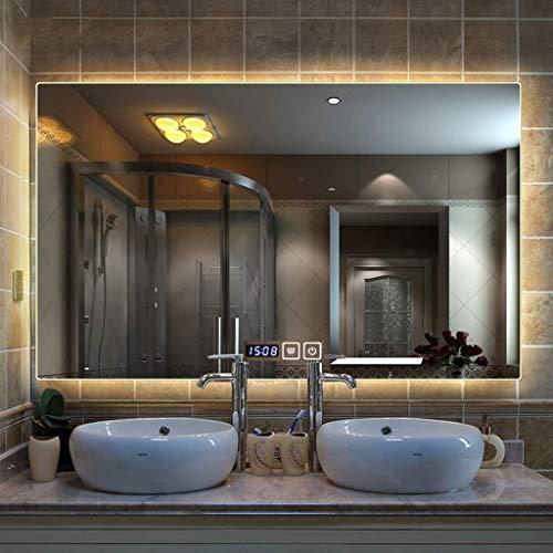LLG Household Items& Cuarto de baño con luz LED montado en la pared de espejo antivaho y regulable memoria táctil Botón impermeable instalación horizontal o vertical (Color: La luz cálida, Tamaño: 75x