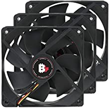High Airflow PC Case Fan - 120 mm 3 Pin Dual Ball Bearing Cooling Fan with Thin Blades and Long Life. 3000 RPM Computer Fan for Desktop CPU Coolers, Radiators. 6.6 W 12v Fan (3 Pack)