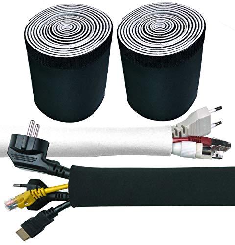 Doppelpack 2 x 3 Meter x 135 mm Kabelschlauch Weis Schwarz Kabelkanal Flexibel Neopren mit innovativem Klettverschluss und einstellbarem Durchmesser Kabel verstecken