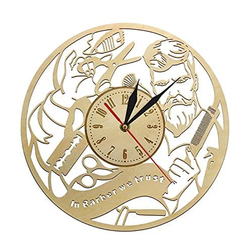 xinxin Reloj de Pared The Barbershop Corte de Pelo para Hombre Reloj de Pared de Madera Hecho a Mano Original Salón de Belleza para el hogar Equipo de peluquería Diseño Reloj Reloj de Pared