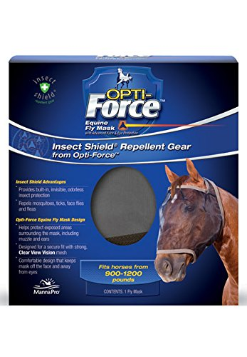 Manna Pro Opti-Force Equine Fly Mask | Insect Shield Repellent Gear | Horse Size