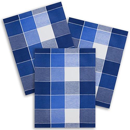 ziczac-affaires 3er Set - Kracht Geschirrtuch, Halbleinen, Jacquard Webmotiv Blockkaro blau, Edition, ca. 50x70 cm