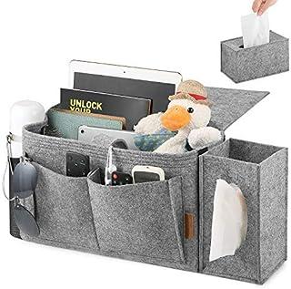 FOREGOER Felt Bed Hanging Storage Organizer with Pockets, Bedside Caddy for Dorms for College Kids Bunk Hospital Bed, Grey…