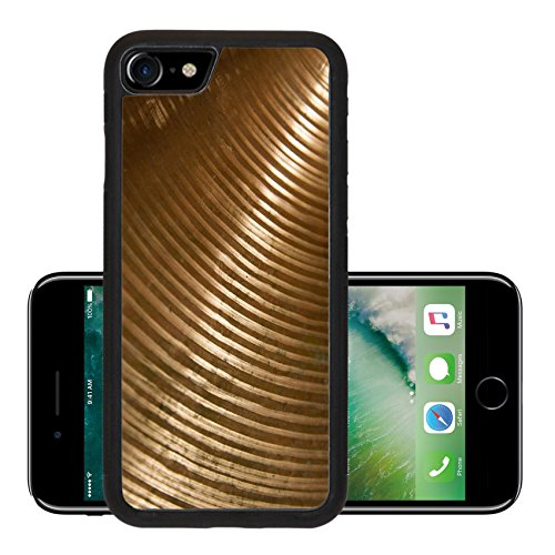 Luxlady Premium Apple iPhone 7 Aluminum Backplate Bumper Snap Case iPhone7 IMAGE 24671450 Brass cymbal texture with shading on dark room