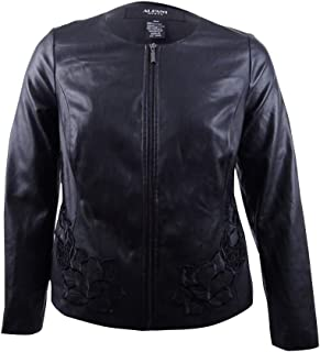 Plus Size Floral-Embroidered Faux-Leather Jacket