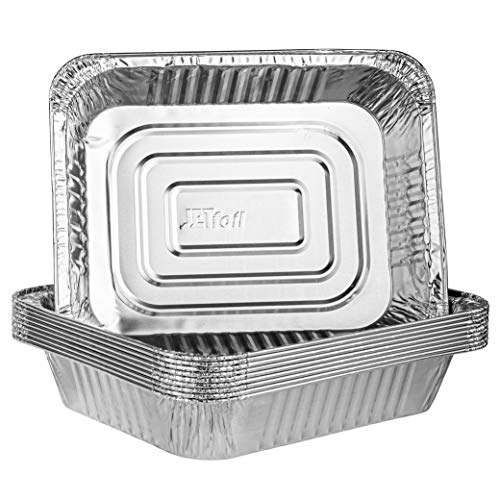 Plasticpro Disposable 9 x 13 Aluminum Foil Pans Half Size Deep Steam Table Bakeware - Cookware Perfect for Baking Cakes, Bread, Meatloaf, Lasagna Pack of 10