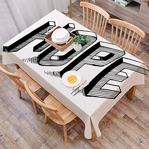 Mantel Antimanchas Rectangular Impermeable,Hope, Sketch Letters with Stripes Spelling Hope Arreglo caligrafico dibuj,Manteles Mesa Decorativo para Hogar Comedor del Cocina,(140 x 200 cm/55*78 pulgada)