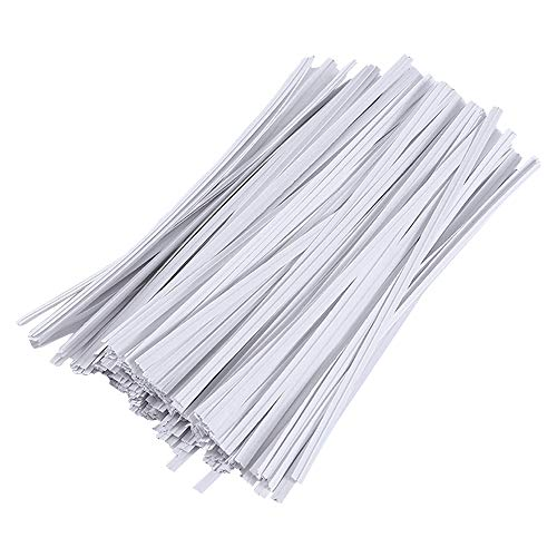 1500Pcs Kraft White Paper Twist Ties Bread Ties White Bendable Reusable Ties for Packaging Sweets Bread Electronics Cords