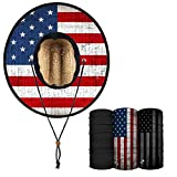 S A Straw Hat Pack - Under Brim Straw Hat for Men and Straw Hat for Women - UPF 50+ Sun Hat and 3 Multipurpose Face Shields (American Flag)