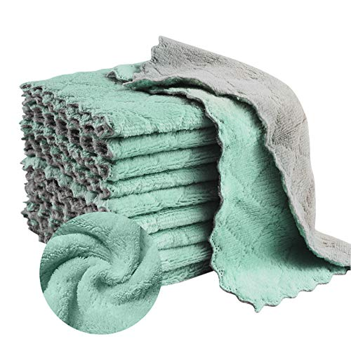 16 Pack Kitchen Towels Dish Cloths Microfiber Cleaning Cloth Coral Velvet Dish Towels Strong Absorbent Dish Rags Nonstick Oil Kitchen Washcloths
