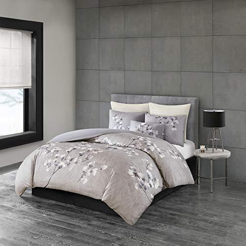 N Natori Sakura Blossom 3 Piece Cotton Sateen Printed Comforter Set Lilac King