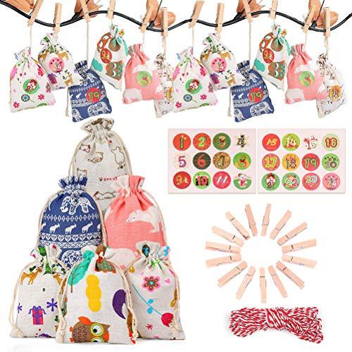 Sklepee Bolsas de regalo, 24 piezas de Navidad calendario de Adviento de lino, bolsas pequeñas de arpillera para colgar calendarios de Adviento con cordón, bolsas de regalo para fiestas decoraciones