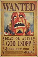 海賊アニメGOD USOPP神ウソップ さびた錫のサインヴィンテージアルミニウムプラークアートポスター装飾面白い鉄の絵の個性安全標識警告バースクールカフェガレージの寝室に適しています