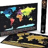 Punto Focal mundo Scratch Off viajes Mapa–Deluxe oro Foil Edition–grande personalizado Tracker pared del viajero Póster con banderas–seguimiento de los lugares que ha sido y países ha viajado