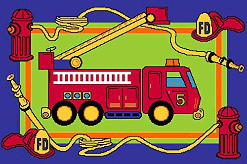 Educational Area rug 5x7 Fire Truck Engine Children's Playful New